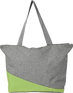 Nákupní taška na zip, šedo zelená papírová taška s potiskem