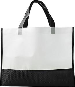 Nákupní taška z netkané textilie, bílo černá papírová taška s potiskem