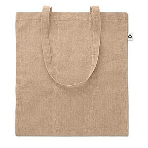 JACUBA Ekologická nákupní taška s dlouhými uchy, z recyklované bavlny, béžová papírová taška s potiskem