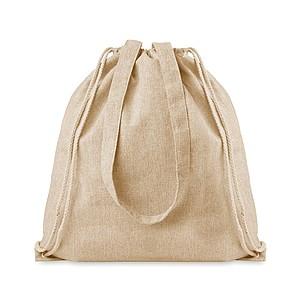 LAGAN Ekologická nákupní taška z recyklované bavlny se šňůrkami a dlouhými uchy, béžová papírová taška s potiskem