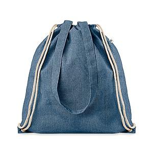 LAGAN Ekologická nákupní taška z recyklované bavlny se šňůrkami a dlouhými uchy, modrá