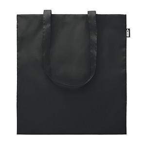 REYNA Ekologická nákupní taška s dlouhými uchy, z recyklovaných PET lahví, černá papírová taška s potiskem