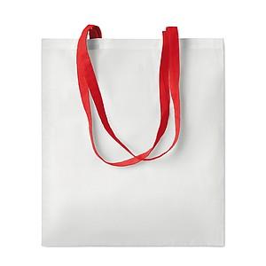 BACARIA Nákupní taška s dlouhými uchy, ze směsi polyesteru 90 % a bavlny 10 %, červená papírová taška s potiskem