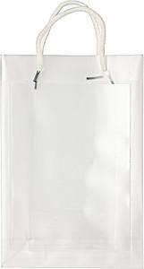 Transparentní taška, velikost A5 s bílými kroucenými uchy papírová taška s potiskem