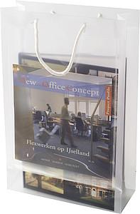 Transparentní taška, velikost A4 s bílými kroucenými uchy