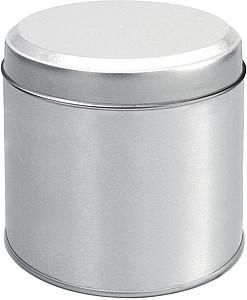 ALVA BOX Stříbrná plechovka s bílým víčkem papírová taška s potiskem