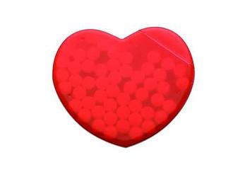Mentolové bonbony v krabičce ve tvaru srdce, červená
