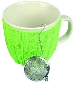 VS GOA hrnek na čaj se zeleným svetrem a sítkem, bez čaje