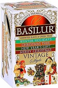 BASILUR Vintage Assorted Dárková kolekce černých čajů a zeleného čaje, papír 15x2g a 5x1,5g