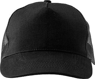 Pětipanelová čepice, zadní panely ze síťoviny, černá - reklamní čepice