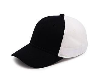 Čepice se síťovanou zadní částí, bílá/černá - reklamní čepice
