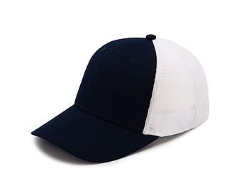 Čepice se síťovanou zadní částí, bílá/námořní modrá - reklamní čepice