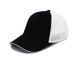 Čepice se síťkou a reflexním pruhem, černá - reklamní čepice