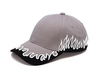 Bavlněná čepice s ohnivými plameny, šedá - reklamní čepice