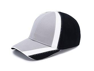Čepice s prodlouženým kšiltem a bílým prvkem, černá/šedá - reklamní čepice