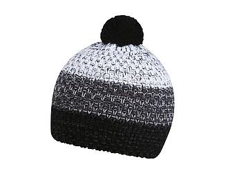 HORTON Barevná zimní čepice s bambulí, černá, šedá, bílá