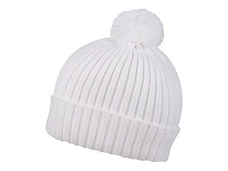 SNOVER Pletená zimní čepice s bambulí, bílá
