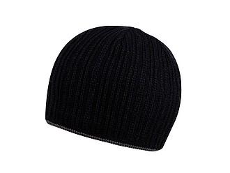 HAKARI Černá pletená čepice s barevným lemem, šedá - reklamní čepice