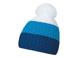 HEJDUK Tříbarevná pletená čepice s bambulkou, modrá, král. modrá, bílá - reklamní čepice