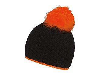TETSU Černá zimní čepice s neonovou bambulkou, fluorescenční oranžová