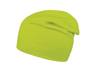 Prodloužená pletená zimní čepice s elastanem, světle zelená