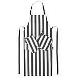3-dílná sada šefkuchaře, černá, bílá