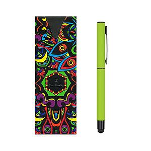 PIERRE CARDIN CELEBRATION Kovový roller se stylusem, zelený - reklamní zápisník