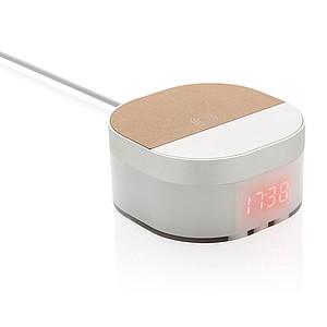 5W bezdrátově nabíjecí digitální budík Aria, bílá