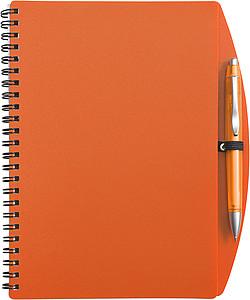 LIBERO A5 Linkovaný blok s kuličkovým perem, obal oranžový