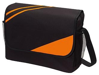 CITYNO Černá taška na rameno s oranžovými pruhy