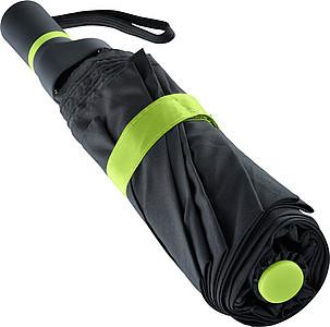 ENARETE Automatický skládací deštník s rukojetí umístěnou na straně, černá/zelená