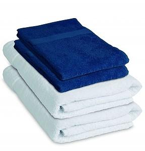 VS DEORIA SET 4 Sada 2 bílých osušek a 2 modrých ručníků
