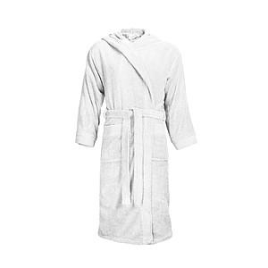KALEBA Kvalitní, velice pohodlný župan s kapucí, bílá, L/XL ručníky s potiskem