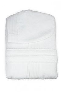 KALEBA Kvalitní, velice pohodlný župan s kapucí, bílá, L/XL