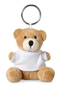 PILASO Přívěsek na klíče s plyšovým medvídkem v tričku, bílá