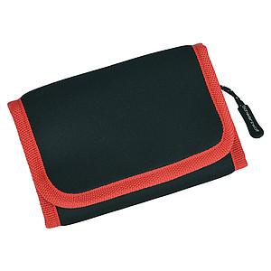 SCHWARZWOLF COIN neoprénová peněženka s červeným lemováním