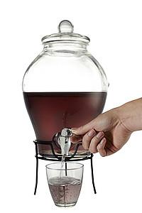 Skleněná nádoba na nápoje, s kohoutkem, objem 6,3 l