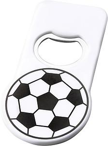 Fotbalový otvírák lahví s magnetem, bílá