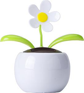 Solární kytička, bílý květináč