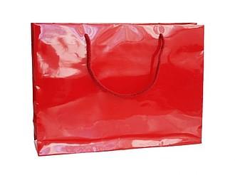 HANKA Papírová taška s lesklou povrchovou úpravou,35x9x24cm, červená 185 C papírová taška s potiskem