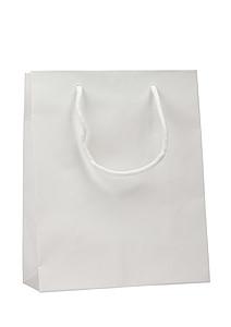 KOFIRA Papírová taška 25x11x31 cm, bílá, křídový papír, lesklé lamino