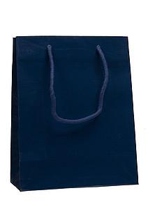 PRIMATA Papírová taška,rozměr 22x10x27,5cm, tmavě modrá, lamino lesk