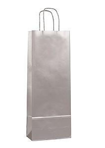 AMBRONIA Luxusní papírová taška na víno 15*8*40, stříbrná