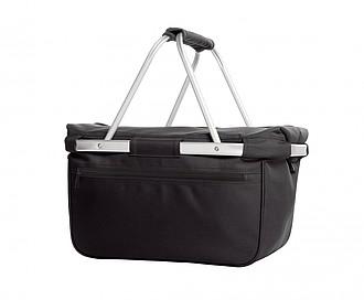 BÁRNY Chladící nákupní košík na zip s termo úpravou, černá papírová taška s potiskem