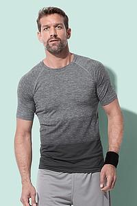 Pánské tričko STEDMAN ACTIVE SEAMLESS RAGLAN FLOW MEN, černá/světle šedá XL