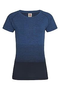 Dámské tričko STEDMAN ACTIVE SEAMLESS RAGLAN FLOW, černá/námořní modrá, XL - reklamní vesty