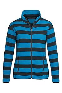 Dámská mikina STEDMAN ACTIVE SRIPED FLEECE JACKET, černá/král. modrá, L - reklamní trička