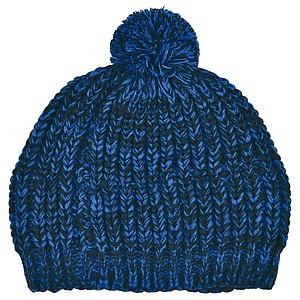 SCHWARZWOLF MALASPIN Pletená čepice s bambulkou a fleecovou podšívkou, modrá