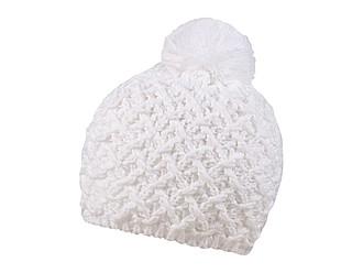 Pletená zimní čepice s výrazným vzorem, bílá